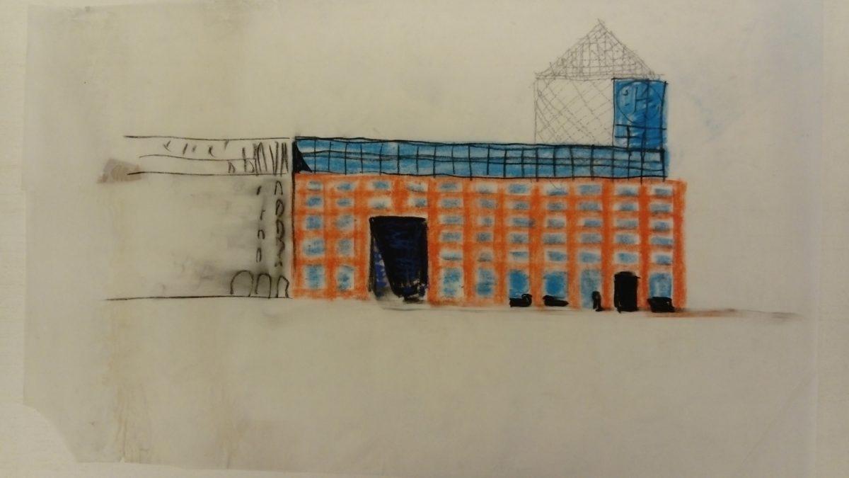 A. Alena Šrámková skica návrhu domu Tuzexu na karlově náměstí