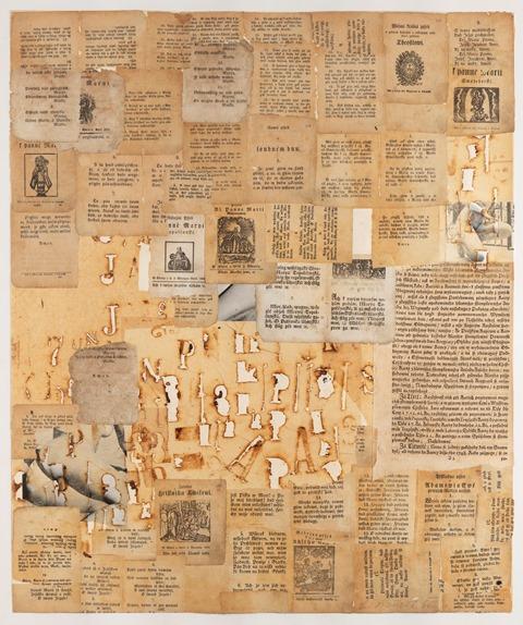 Adamovi aEvě (Kramářské písně), 1965, propalovaná koláž, papír